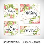 wedding floral template invite  ... | Shutterstock .eps vector #1107105506