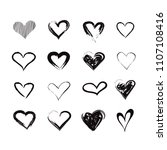 vector grunge hearts set ... | Shutterstock .eps vector #1107108416
