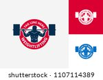 weightlifting logo template... | Shutterstock .eps vector #1107114389