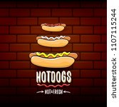 vector cartoon hotdogs label... | Shutterstock .eps vector #1107115244