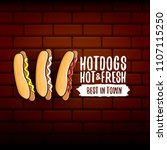 vector cartoon hotdogs label... | Shutterstock .eps vector #1107115250