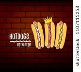 vector cartoon hotdogs label...   Shutterstock .eps vector #1107115253