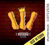 vector cartoon hotdogs label... | Shutterstock .eps vector #1107115256