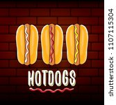 vector cartoon hotdogs label... | Shutterstock .eps vector #1107115304