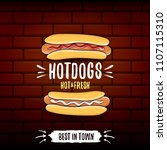 vector cartoon hotdogs label... | Shutterstock .eps vector #1107115310