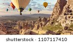 air balloons above turkish...   Shutterstock . vector #1107117410