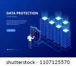 isometric personal data... | Shutterstock .eps vector #1107125570