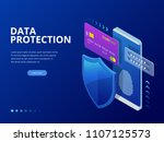 isometric personal data... | Shutterstock .eps vector #1107125573
