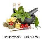 Italian food: pasta, tomatoes, herbs in mortar. Isolated on white background - stock photo