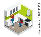 isometric assembly of kitchen... | Shutterstock .eps vector #1107149999