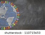 Small photo of A hand drawn chalkboard shows multi-ratial people holding hands around the world to show care for the earth, peace, and unity. Shown off centered for copy-space.