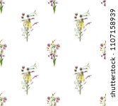 watercolof vintage pattern with ... | Shutterstock . vector #1107158939