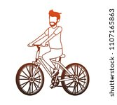 young man with bicycle red lines | Shutterstock .eps vector #1107165863