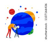 planet in a telescope. a person ... | Shutterstock .eps vector #1107166436
