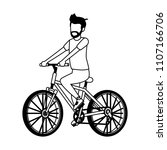 young man with bicycle in black ... | Shutterstock .eps vector #1107166706