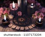 runes  black candles and zodiac ...   Shutterstock . vector #1107173204