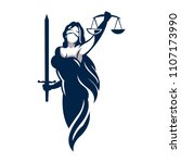 lady law vector for firm logo | Shutterstock .eps vector #1107173990