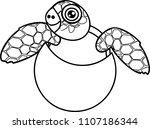coloring page. cute cartoon sea ... | Shutterstock .eps vector #1107186344