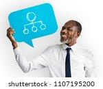 happy man holding... | Shutterstock . vector #1107195200