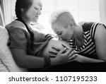 lesbian couple expecting a baby | Shutterstock . vector #1107195233