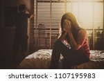 depressed couple husband and...   Shutterstock . vector #1107195983