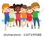group of happiness little... | Shutterstock .eps vector #1107199388