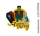 zombie party invitation card... | Shutterstock .eps vector #1107199958