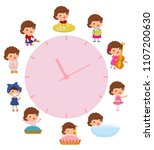 daily routine with simple... | Shutterstock .eps vector #1107200630