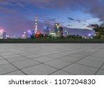 night view of empty brick floor ... | Shutterstock . vector #1107204830