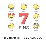 7 deadly sins represented by... | Shutterstock .eps vector #1107207830