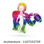 group of american football... | Shutterstock .eps vector #1107232709