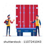 customs truck loading control.... | Shutterstock .eps vector #1107241043