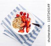 healthy breakfast with granola  ... | Shutterstock . vector #1107243149