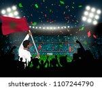 soccer supporter hold morocco... | Shutterstock .eps vector #1107244790