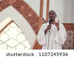 muslims black african imam has...   Shutterstock . vector #1107245936