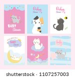 set of baby shower invitations... | Shutterstock .eps vector #1107257003