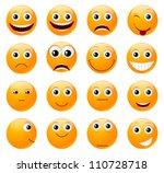 Set Of Orange Smiles. Vector...