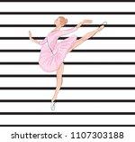 ballet pattern background girl... | Shutterstock .eps vector #1107303188