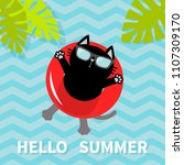 hello summer. black cat... | Shutterstock .eps vector #1107309170
