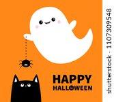 happy halloween. flying ghost... | Shutterstock .eps vector #1107309548