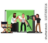 actor reads a script and... | Shutterstock .eps vector #1107330116