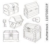 set of wooden chests. open... | Shutterstock .eps vector #1107330119