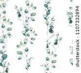 watercolor eucalyptus branches... | Shutterstock . vector #1107332894