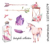 watercolor fairytale set. hand... | Shutterstock . vector #1107341579