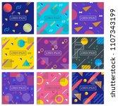 memphis style cover set. banner ... | Shutterstock . vector #1107343199