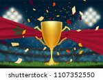 trophy cup with morocco flag on ... | Shutterstock .eps vector #1107352550