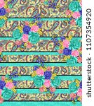 flower with paisley horizontal... | Shutterstock . vector #1107354920