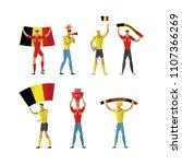 belgium football fans. cheerful ... | Shutterstock .eps vector #1107366269