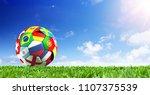 soccer ball flags on grass  ... | Shutterstock . vector #1107375539
