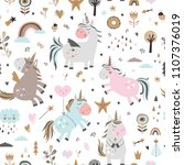 seamless pattern with unicorns | Shutterstock .eps vector #1107376019